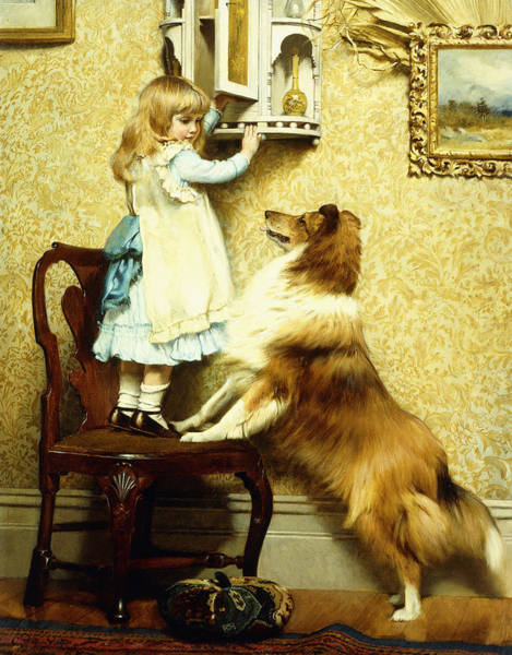 Wall Art - Painting - Little Girl And Her Sheltie by Charles Burton Barber