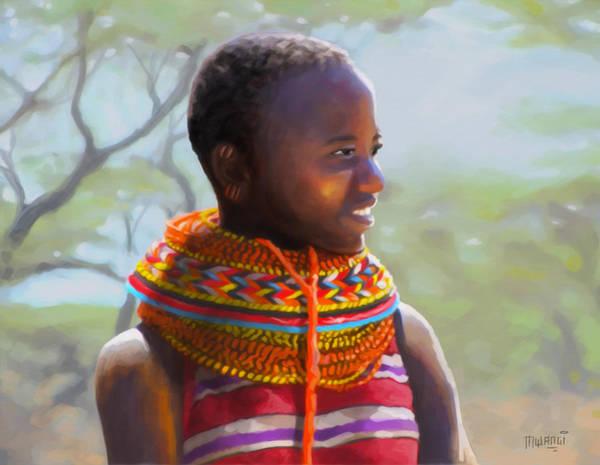 Uganda Painting - Little Girl From Isiolo by Anthony Mwangi