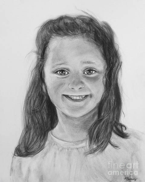Drawing - Little Girl Portrait by Kate Sumners