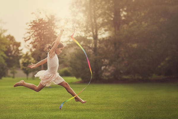 Buns Photograph - Little Girl Practicing Ribbon Gymnastics by Rebecca Nelson