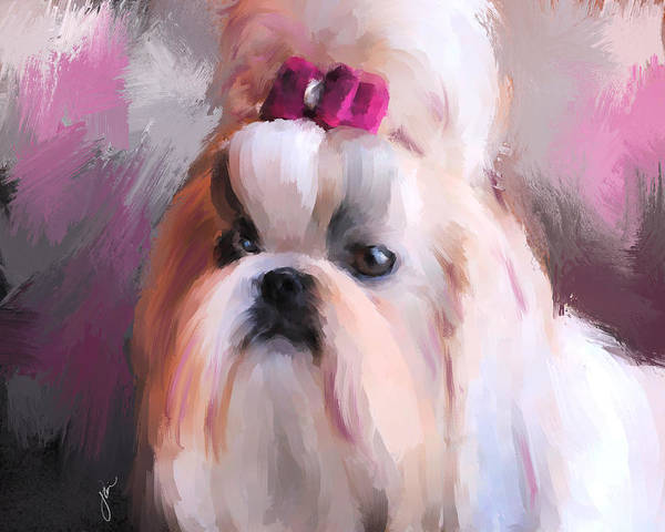 Painting - Little Girl Shih Tzu by Jai Johnson