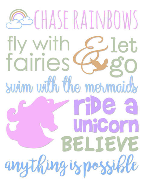 Unicorn Wall Art - Painting - Little Girl Typography by Anna Quach