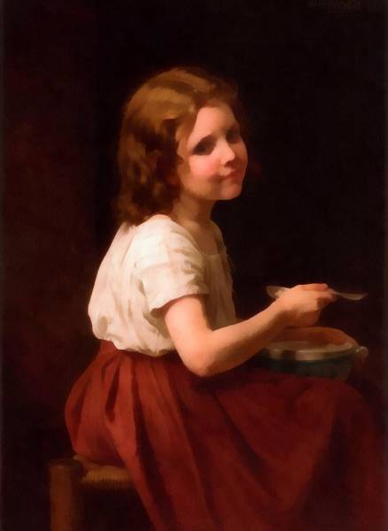 Digital Art - Little Girl With Soup by William Bouguereau