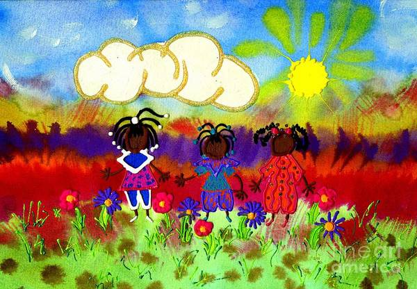 Wall Art - Painting - Little Girlfriends by Angela L Walker