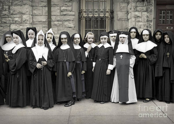 Photograph - Young Girls Modeling Nun Habits by Martin Konopacki Restoration