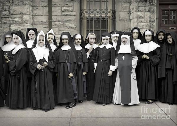 Photograph - Young Girls Modeling Nun Habits by Martin Konopacki Restoration