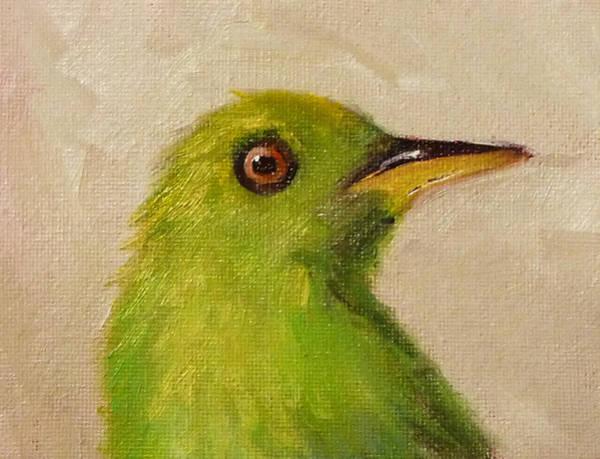Looking Up Painting - Little Green Bird by Nancy Merkle