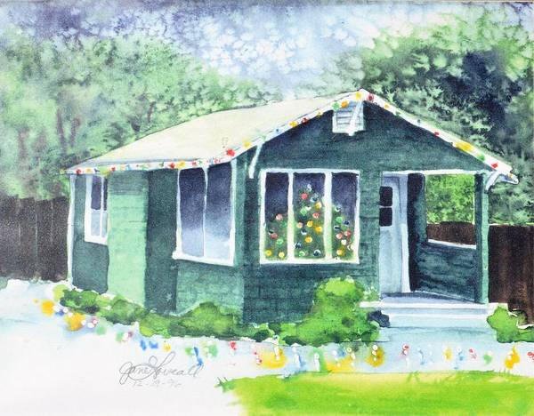 Painting - Little Green House At Christmas by Jane Loveall