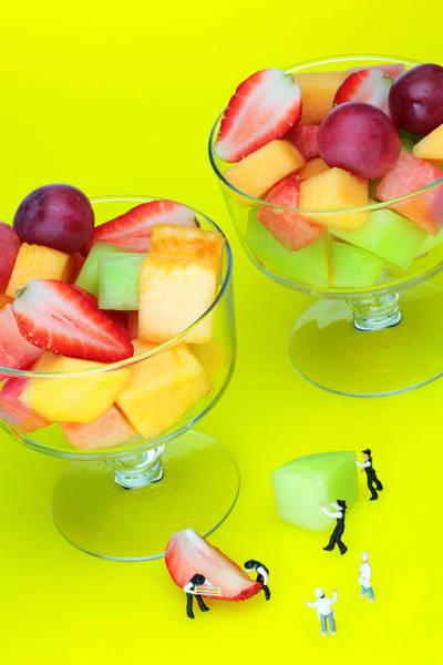 Fruit Salad Photograph - little guys Making fruit salad miniature art by Paul Ge
