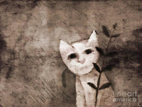 Mixed Media - Little Kitten by Lutz Baar