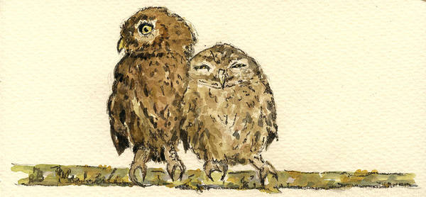 Night Painting - Little Owls by Juan  Bosco