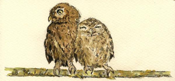 Bird Watercolor Painting - Little Owls by Juan  Bosco