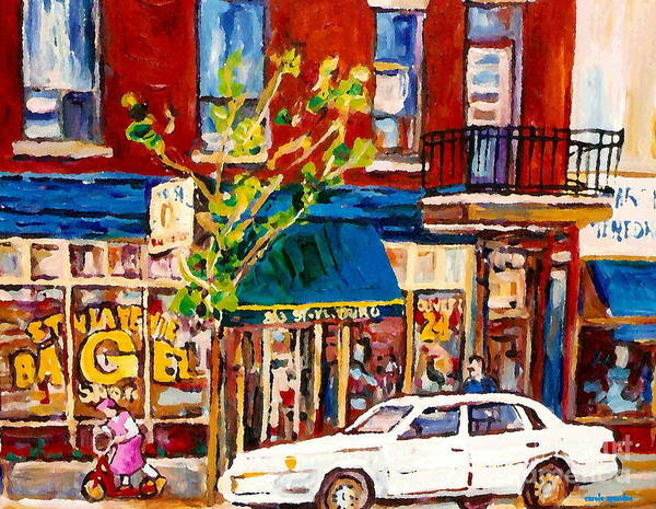 Painting - Little Pink Scooter Girl St. Viateur Bagel Shop Classic Montreal Street Scene Paintings Original Art by Carole Spandau