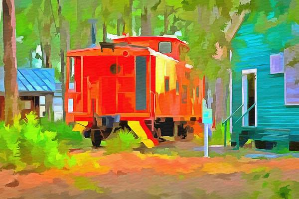 Red Caboose Painting - Little Red Caboose  by L Wright