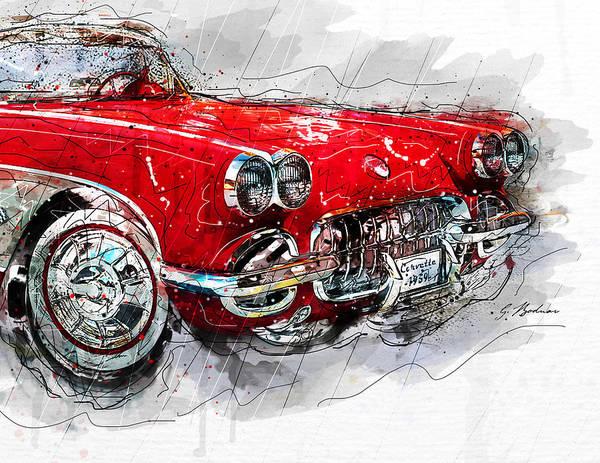 Cool Car Digital Art - Little Red Corvette No. 2 C by Gary Bodnar