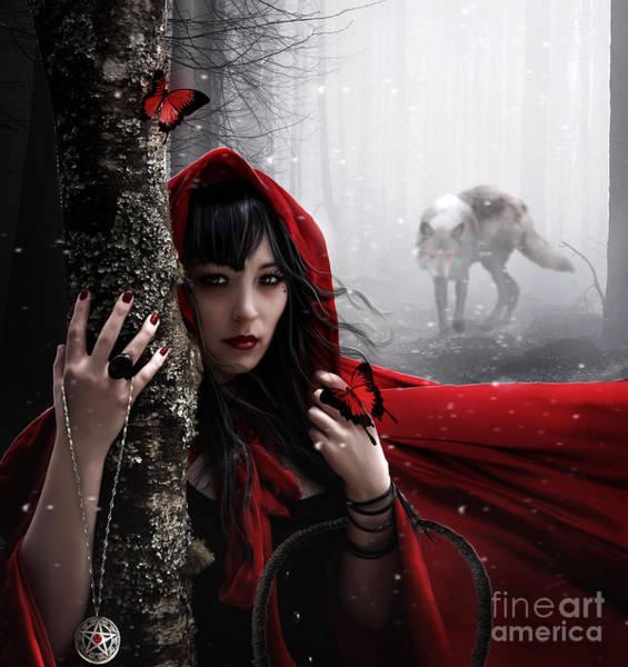 Cloak Digital Art - Little Red by Jessica Allain