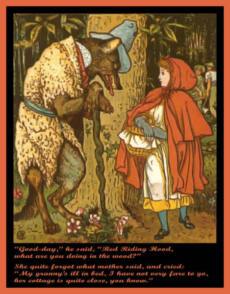 Wall Art - Painting - Little Red Riding Hood  by Walter Crane