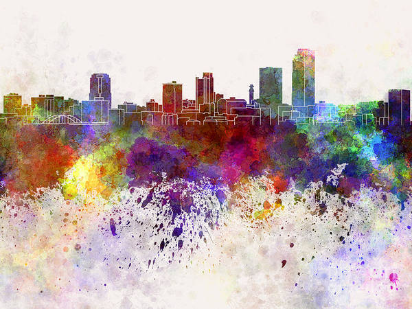 Rock Texture Painting - Little Rock Skyline In Watercolor Background by Pablo Romero