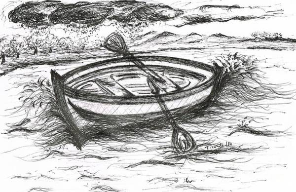 Whitened Drawing - Little Rowing Boat by Teresa White