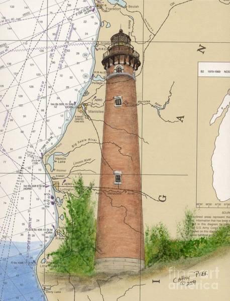 Cathy Painting - Little Sable Lighthouse Lake Mi Nautical Chart Map Art Cathy Peek by Cathy Peek