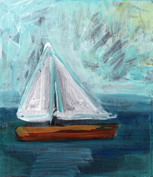 Orange Beach Painting - Little Sailboat- Expressionist Painting by Linda Woods