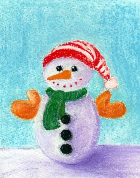 Christmas Decoration Wall Art - Painting - Little Snowman by Anastasiya Malakhova