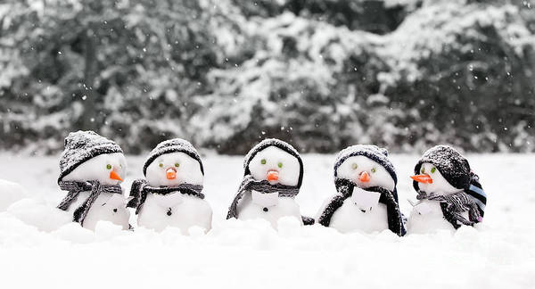 Jolly Holiday Photograph - Little Snowmen In A Group by Simon Bratt Photography LRPS