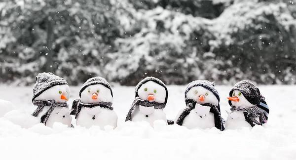 Carol Singing Photograph - Little Snowmen In A Group by Simon Bratt Photography LRPS