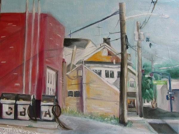 Utility Poles Painting - Little St. And Main In Matawan Nj by Maria Milazzo