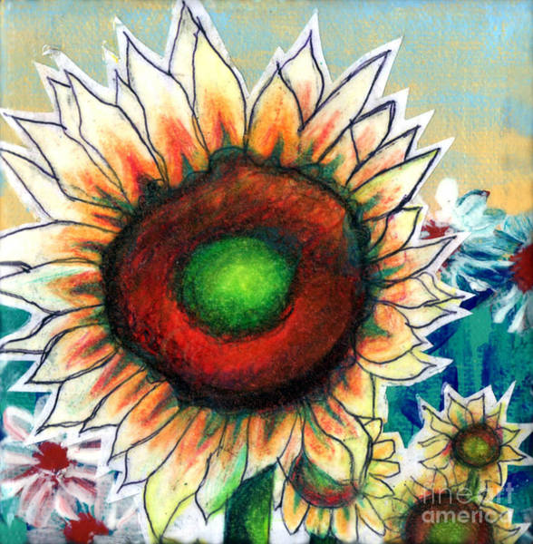 Floral Shower Curtain Painting - Little Sunflower by Genevieve Esson