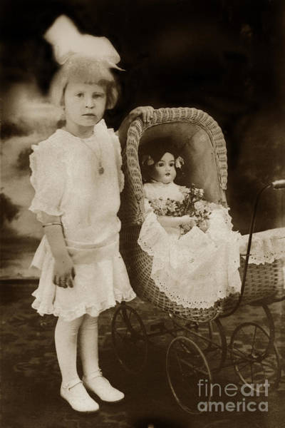 Photograph - little Victorian girl with a wicker doll  carriage 1900 by California Views Archives Mr Pat Hathaway Archives