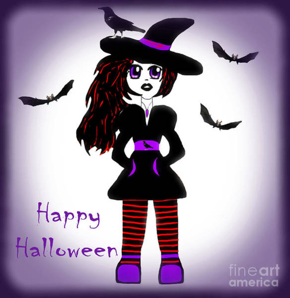 Wall Art - Photograph - Little Witch Halloween Girl by Eva Thomas
