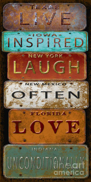 Rustic Digital Art - Live Inspired-license Plate  by Jean Plout