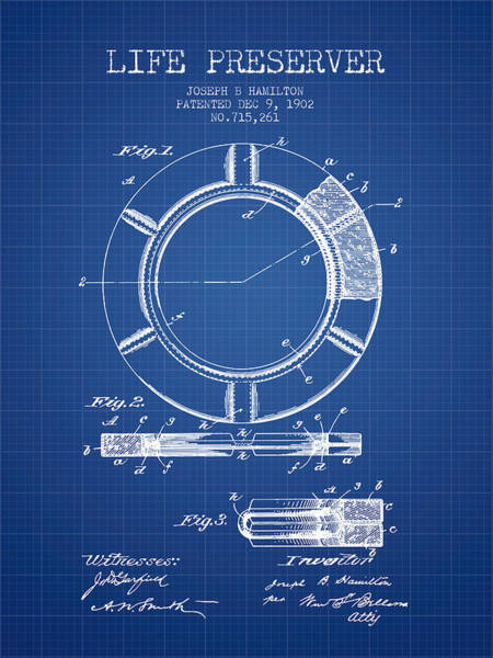 Lifeguard Digital Art - Live Preserver Patent From 1902 - Blueprint by Aged Pixel