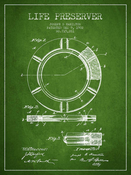 Lifeguard Digital Art - Live Preserver Patent From 1902 - Green by Aged Pixel