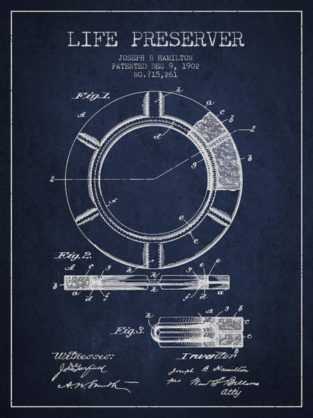 Lifeguard Digital Art - Live Preserver Patent From 1902 - Navy Blue by Aged Pixel