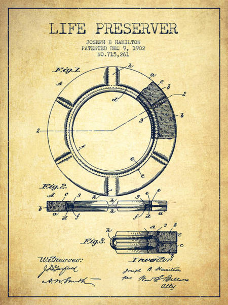 Lifeguard Digital Art - Live Preserver Patent From 1902 - Vintage by Aged Pixel