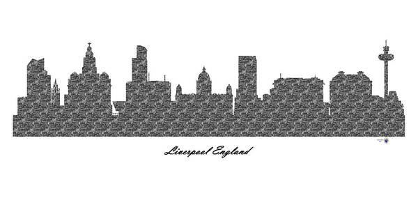 Liverpool Skyline Digital Art - Liverpool England 3d Bw Stone Wall Skyline by Gregory Murray