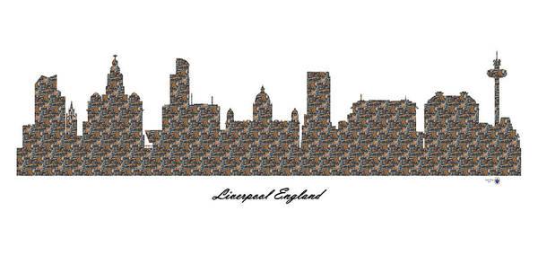 Liverpool Skyline Digital Art - Liverpool England 3d Stone Wall Skyline by Gregory Murray