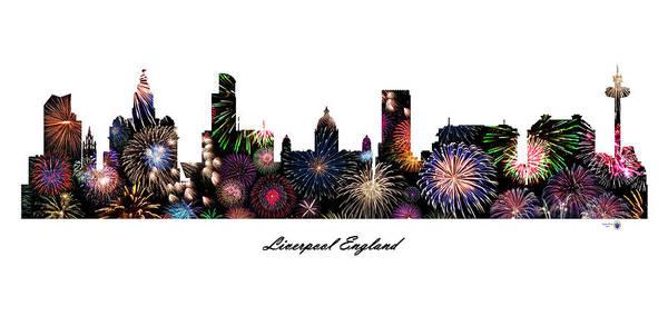 Liverpool Skyline Digital Art - Liverpool England Fireworks Skyline by Gregory Murray