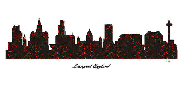 Liverpool Skyline Digital Art - Liverpool England Molten Lava Skyline by Gregory Murray