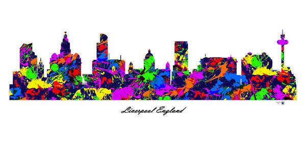 Liverpool Skyline Digital Art - Liverpool England Paint Splatter Skyline by Gregory Murray