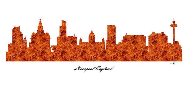 Liverpool Skyline Digital Art - Liverpool England Raging Fire Skyline by Gregory Murray