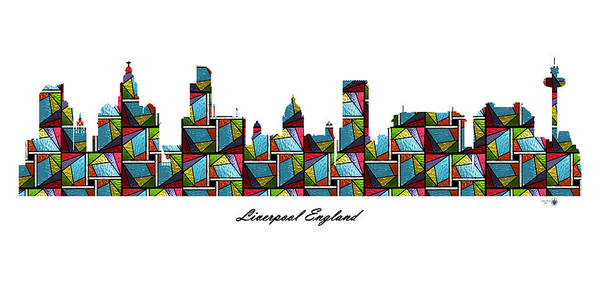 Liverpool Skyline Digital Art - Liverpool England Stained Glass Skyline by Gregory Murray