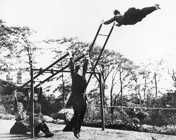 Physical Training Wall Art - Photograph - Liverpool Ladder Swinging by Underwood Archives