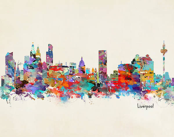 Watercolour Landscape Painting - Liverpool Skyline by Bri Buckley