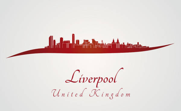Liverpool Skyline Digital Art - Liverpool Skyline In Red by Pablo Romero
