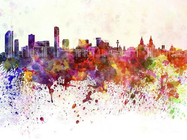 Liverpool Skyline Digital Art - Liverpool Skyline In Watercolor Background by Pablo Romero