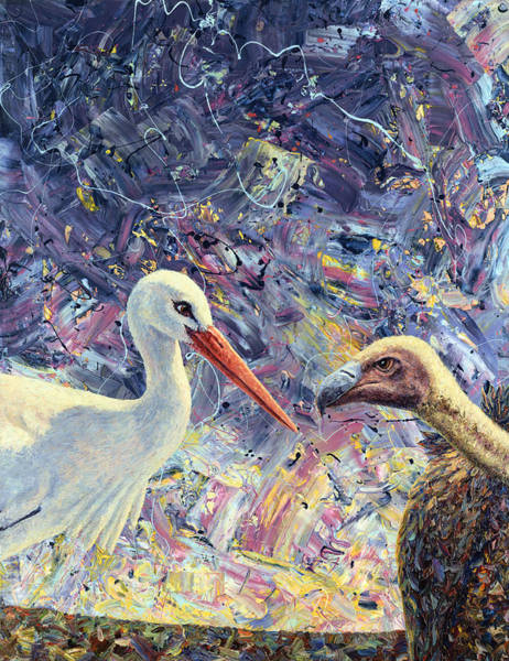 Stork Painting - Living Between Beaks by James W Johnson
