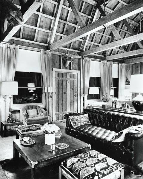 Rustic Furniture Photograph - Living Room Of Robert Mcnies Squaw Valley Lodge by Fred Lyon